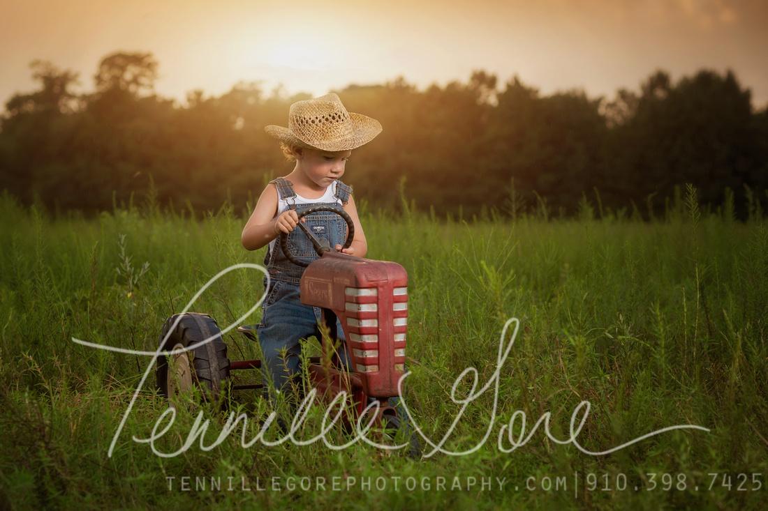 Three year old boy milestone session- Tractor love- Wilmington, NC Children & Baby Photographer