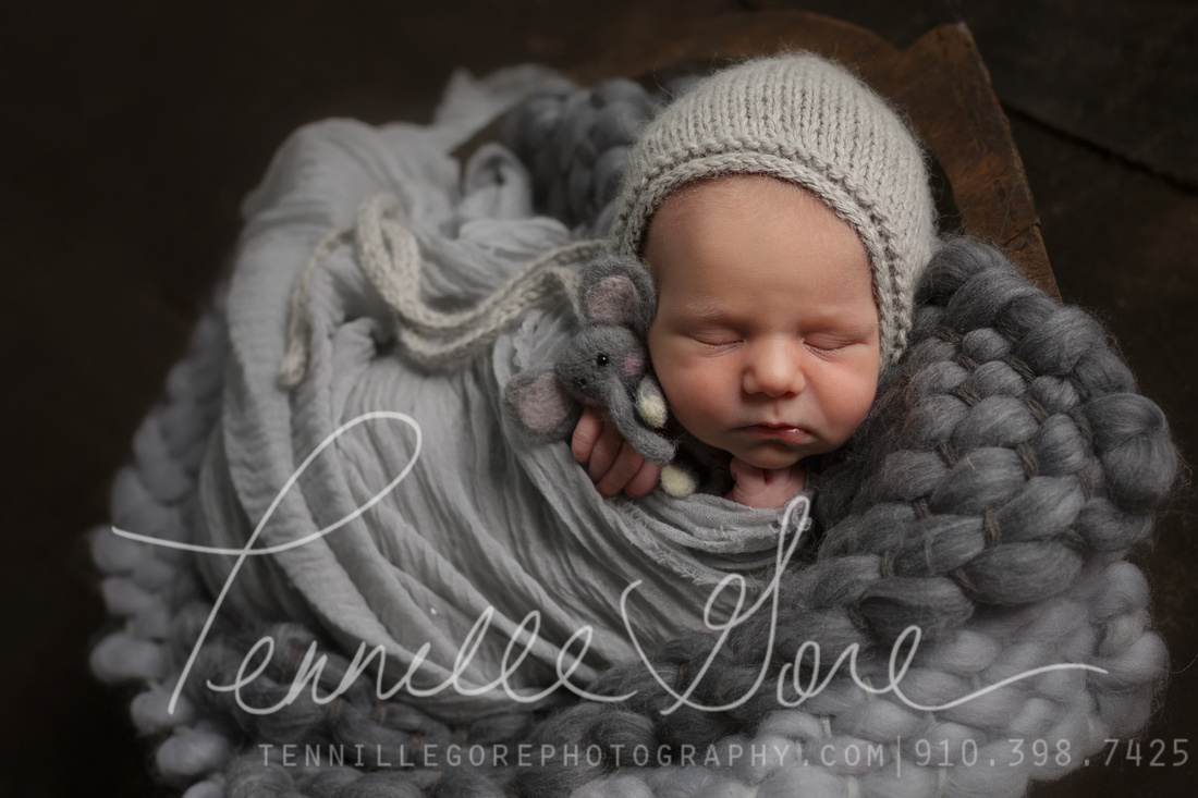 Baby boy in gray wrap, and with gray bonnet, small stuffed elephant, in a wooden bowl.