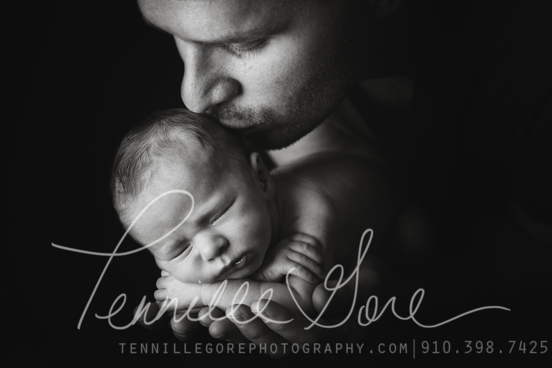 Cothran baby and dad- Wilmington NC newborn photography