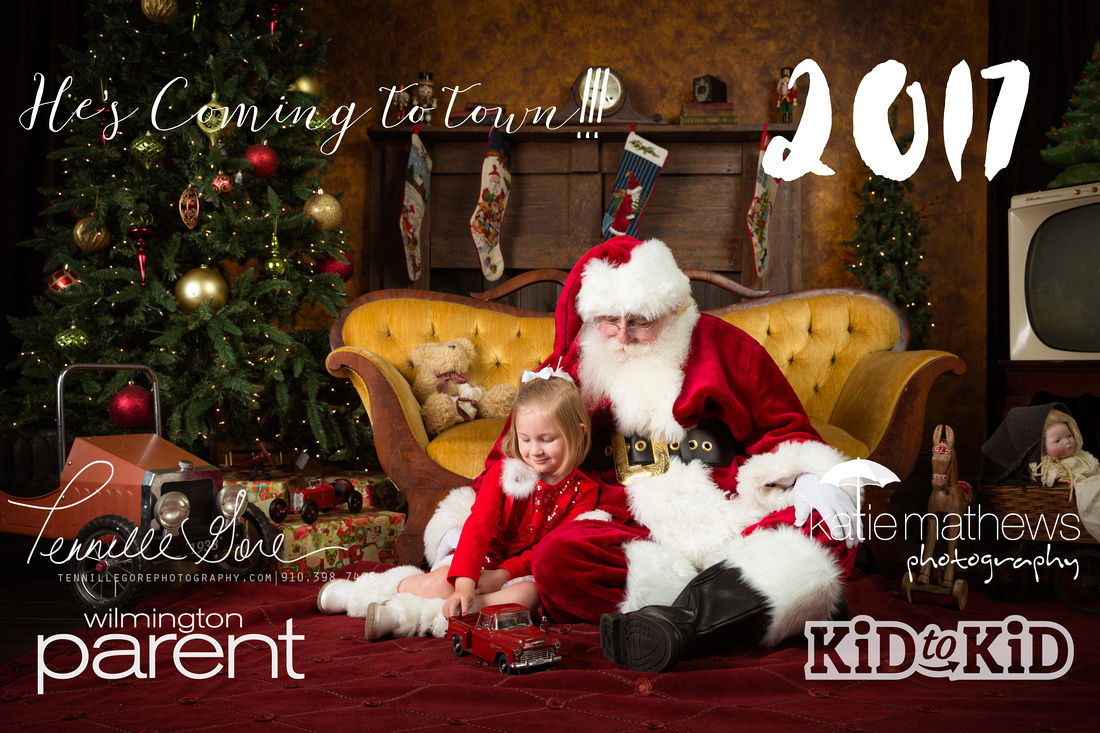 Santa and child playing with toys in a vintage living room setting.